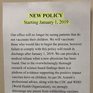 This Doctor's Notice Explains Why They Won't Be Accepting Patients Who Didn't Vaccinate Their Kids