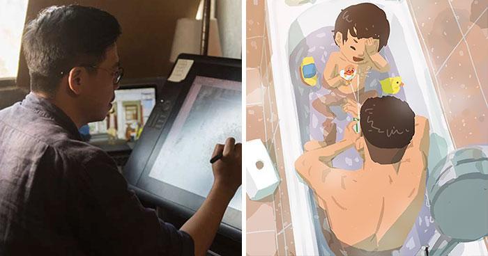 Alleinerziehender Vater zeichnet wie es ist ein Kind groß zu ziehen (38 Bilder)