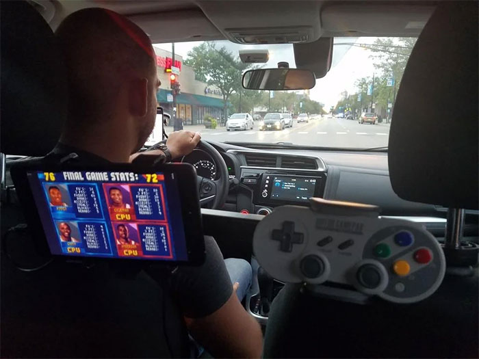 My Uber Driver Had NBA Jam Hooked Up For Passengers To Pass The Time
