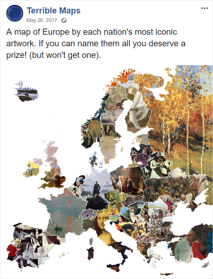 A Map Of Europe By Each Nation's Most Iconic Artwork. If You Can Name Them All You Deserve A Prize! (But Won't Get One).