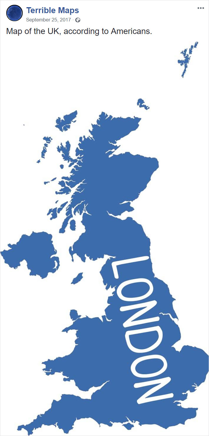 Map Of The Uk, According To Americans.