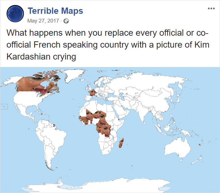 What Happens When You Replace Every Official Or Co-Official French Speaking Country With A Picture Of Kim Kardashian Crying