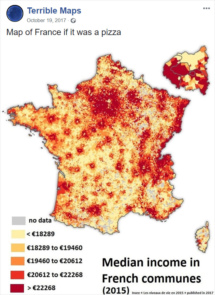 Map Of France If It Was A Pizza