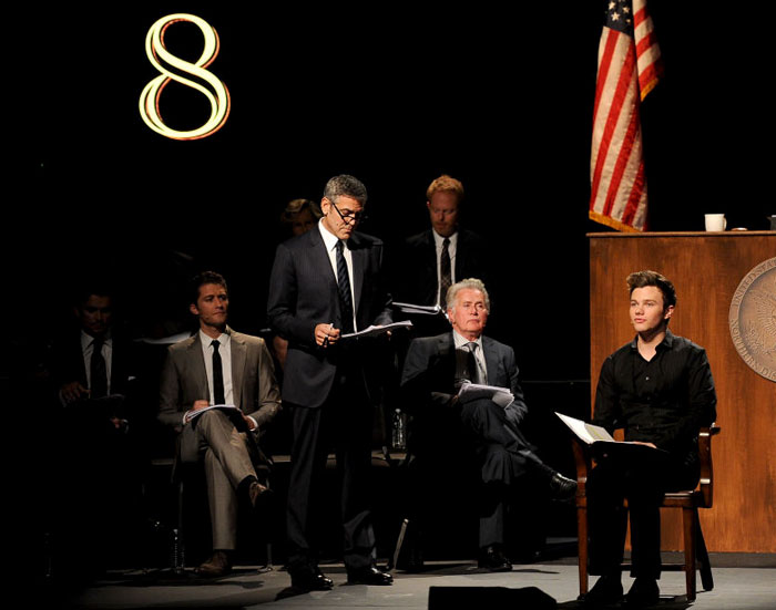 In March 2012, Clooney Was Featured In A Performance Of Dustin Lance Black's Play, '8'—a Staged Reenactment Of The Federal Trial That Overturned California's Prop 8 Ban On Same-Sex Marriage. The Production Was Held At The Wilshire Ebell Theatre And Broadcast On Youtube To Raise Money For The American Foundation For Equal Rights