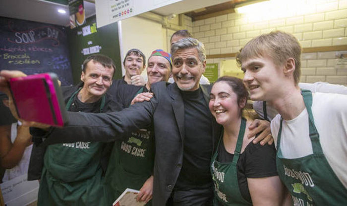 George Clooney Wowed Fans On Visit To Edinburgh Charity Café. He Also Donated £1,000 To The Charity For Pre-Paid Meals