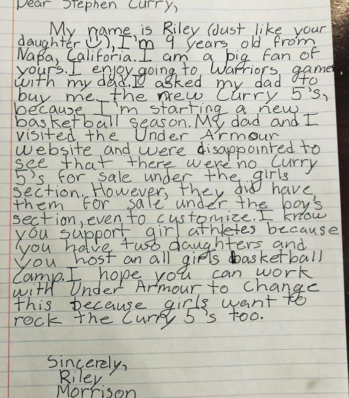 9-Year-Old Girl Writes A Letter To NBA Star Steph Curry Complaining His Shoes Are Only For Boys, He Responds With A Gift
