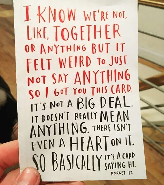 """My GF Got Me This Card On Valentine's Day Of This Year Before We Were Officially """"Dating."""" It Still Makes Me Smile"""