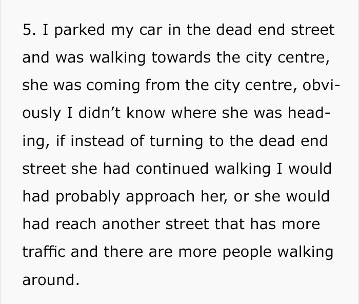 guy follows girl four blocks to her car then writes her an