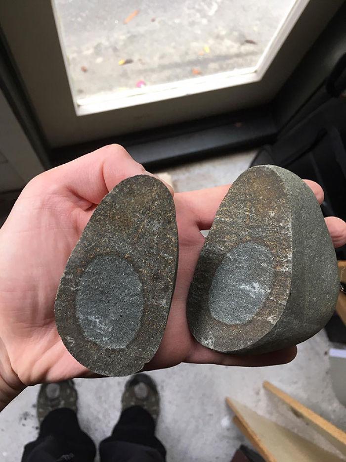 This Broken Rock That Looks A Little Bit Like An Avocado