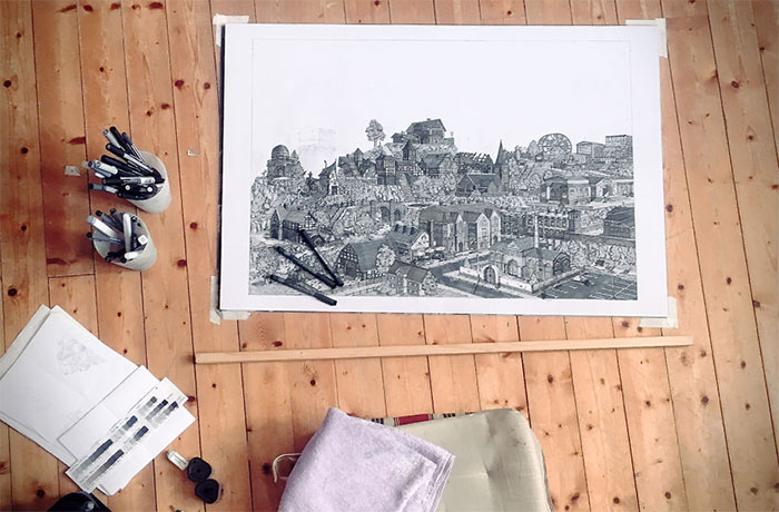 I Spent The Whole Of October Drawing A Fantasy City And Every Building Has A Story