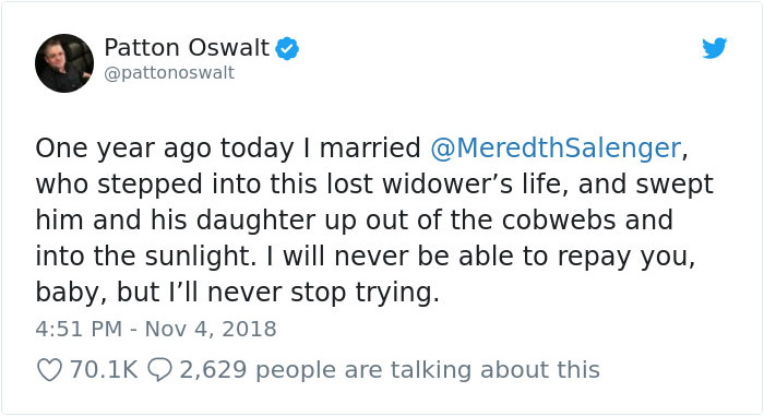 Someone Calls Patton Oswalt 'Creepy' For Remarrying After His Wife's Death, So He Responds