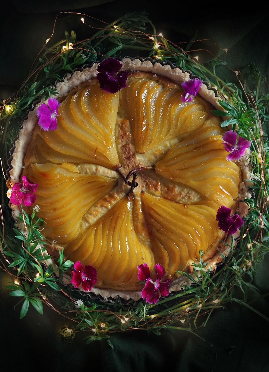 May Wine And Saffron Pear Frangipane Tart