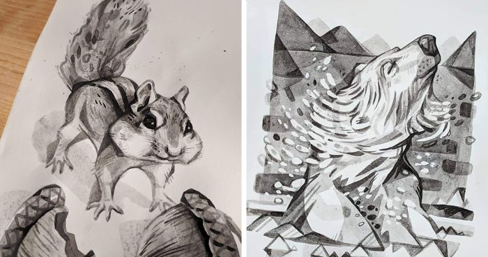 this inktober i made pen and ink drawings inspired by david