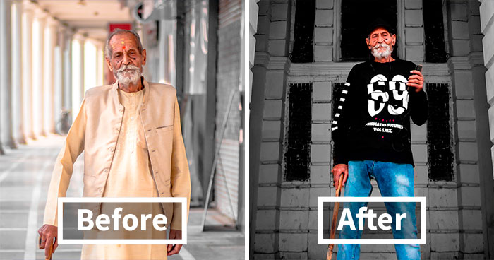 I Gave My 98-Year-Old Grandpa A Millenial Look And Then Photographed Him So His Inner Youth Could Stand Out
