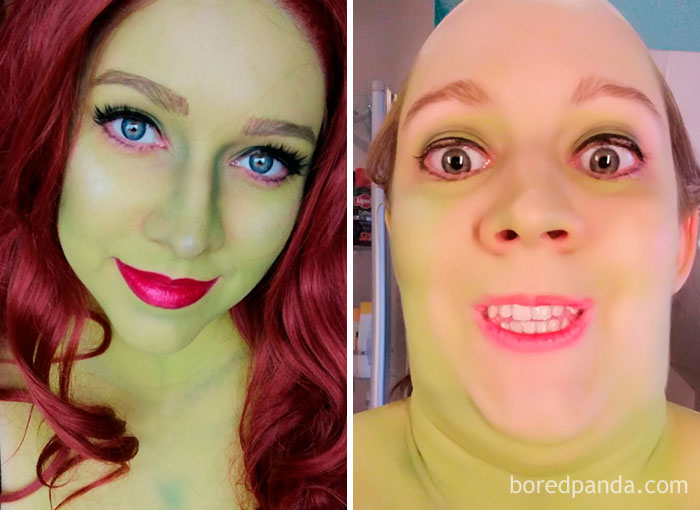 During And After Cosplaying Poison Ivy. You're Welcome