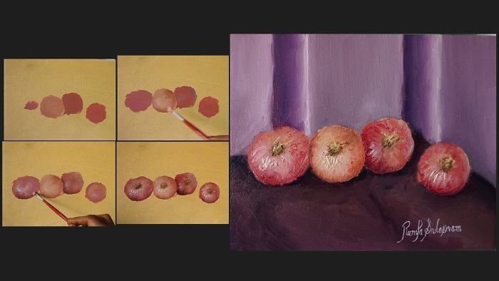 How To Paint Onions ? Time Lapse Video Of Oil Painting