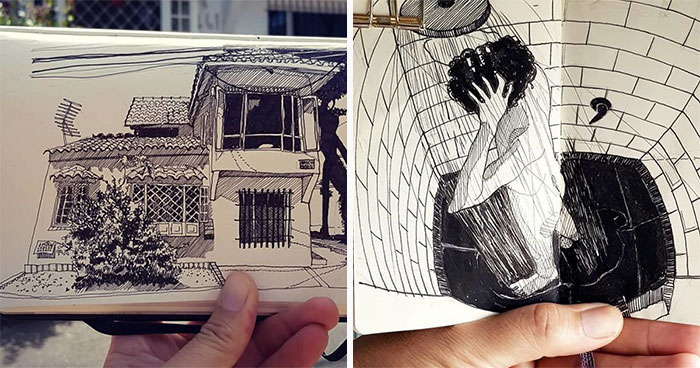 Architect Sketches The World Around Him From His Point Of View