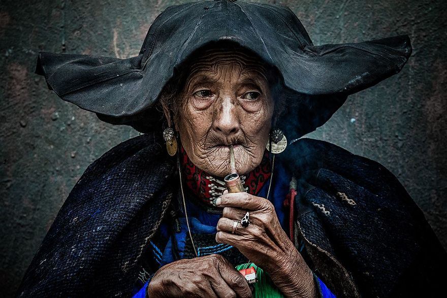 Smoking An Old Woman (Remarkable Award In Fascinating Faces And Characters Category)