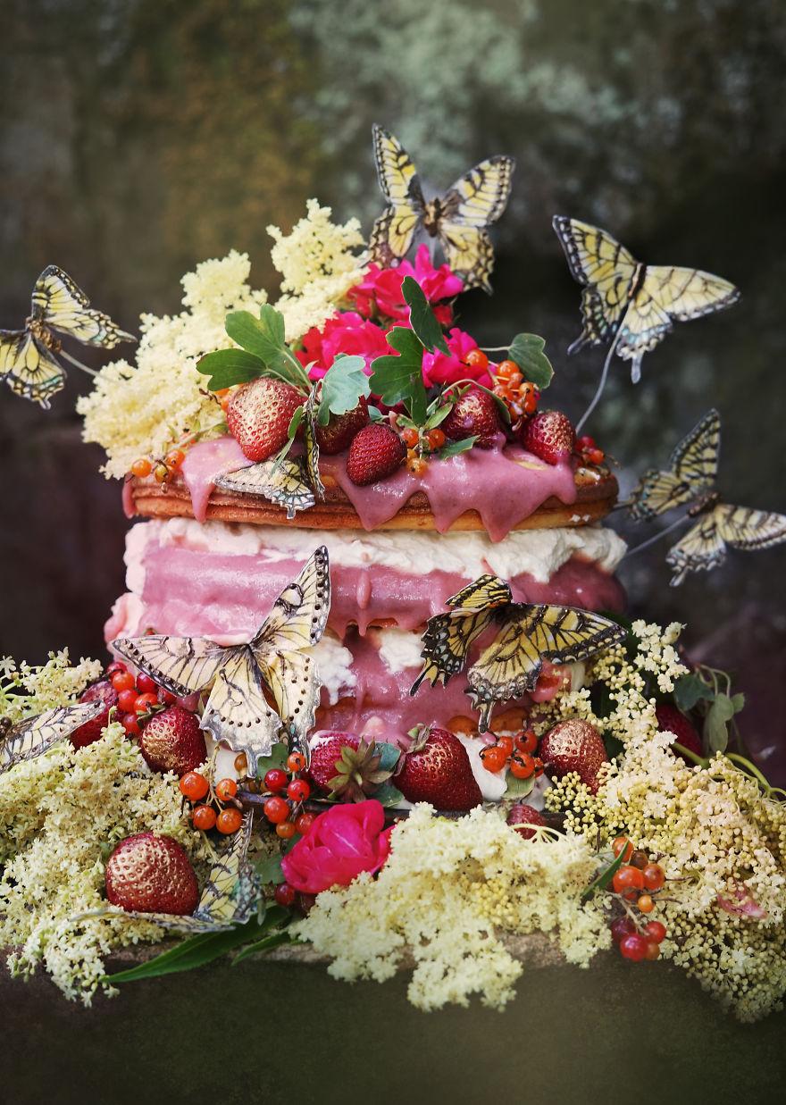 Elderflower And Rhubarb Fairy Cake (With Edible Butterflies)