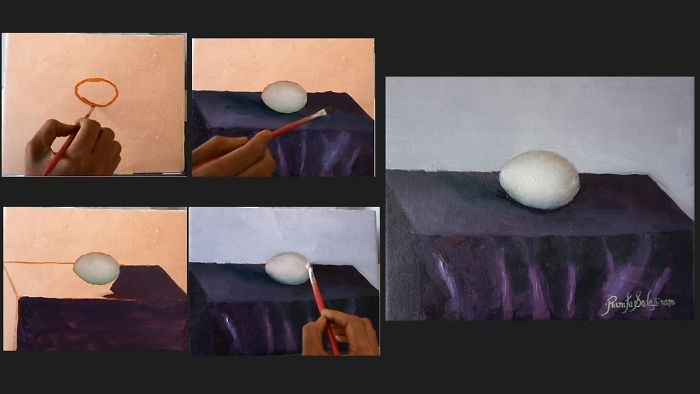 Time Lapse Video Of Oil Painting Of Egg