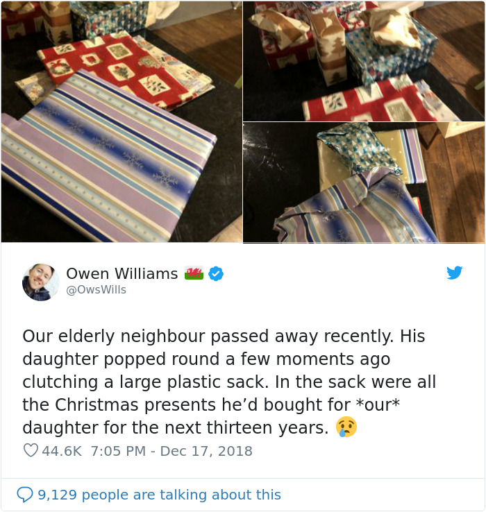 Dying Man Bought Christmas Gifts For Neighbor's 2-Year-Old That She Will Be Getting Until 2032