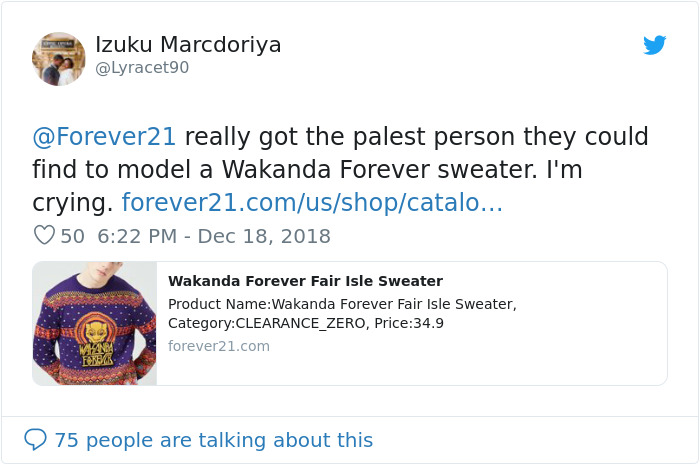 920f5858c97 One Man Perfectly Shut Down People Who Called Forever 21 Racist Over White  Model In A Wakanda Sweater