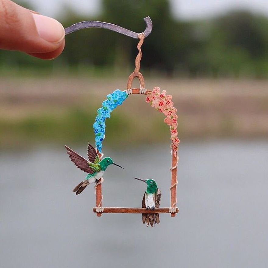 Hummingbirds On A Floral Perch