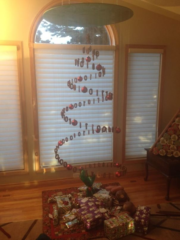 """My Family Designed And Made A Gingerbread Christmas Tree. The Numbers Say """"Christmas Tree"""" In Binary"""