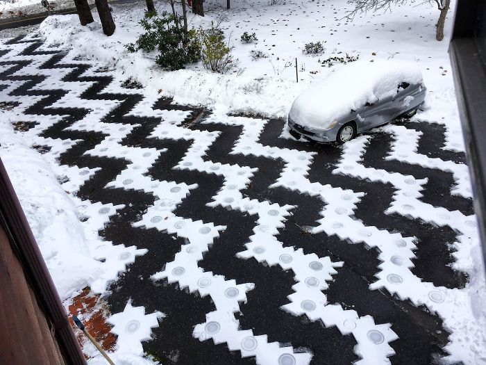 A Guy In My City Shoveled This Snow Pattern In His Driveway