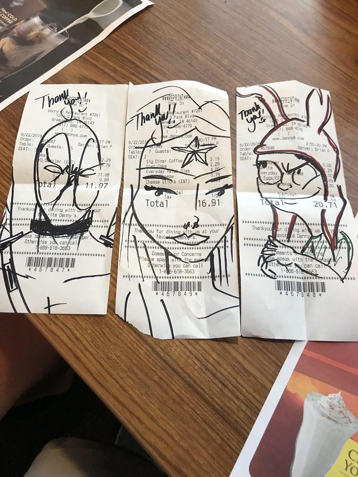 Los dibujos que nos hizo el camarero en las facturas