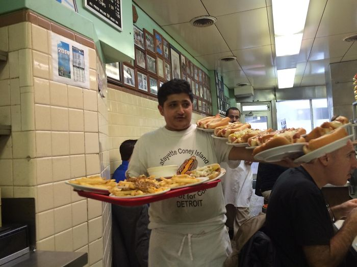 A Waiter At The Lafayette Coney Island In Detroit