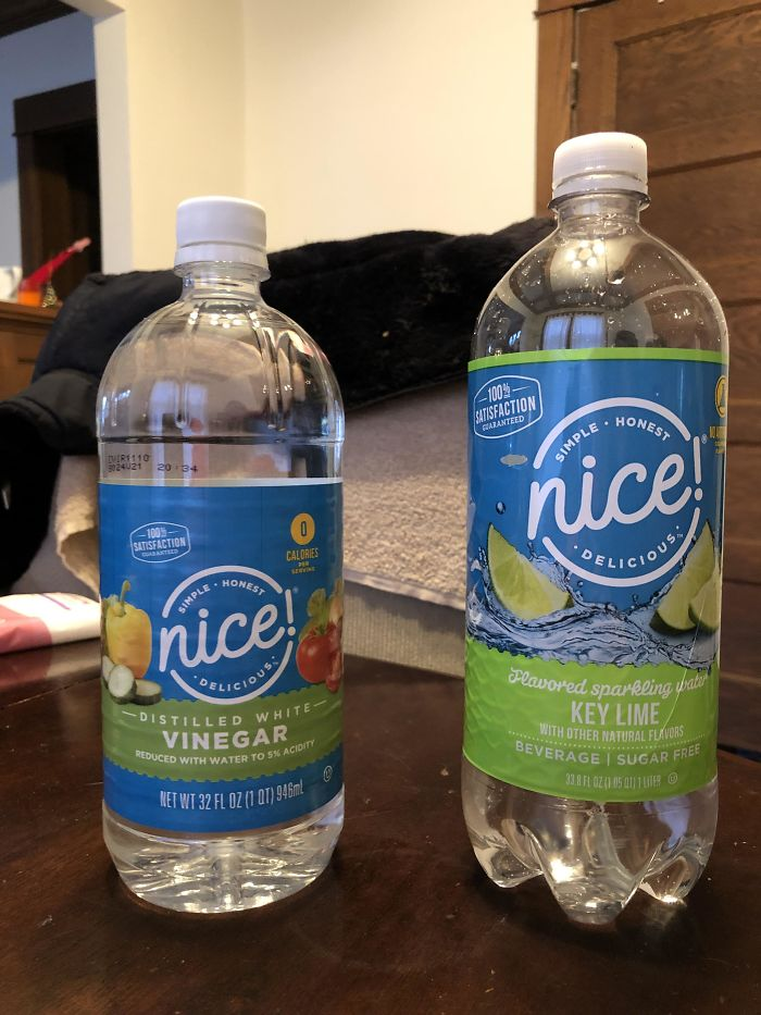 Walgreen's Vinegar On Your Left, My Husband's Regular Sparkling Water Go-To On Your Right. He Discovered His Error A Little Too Late