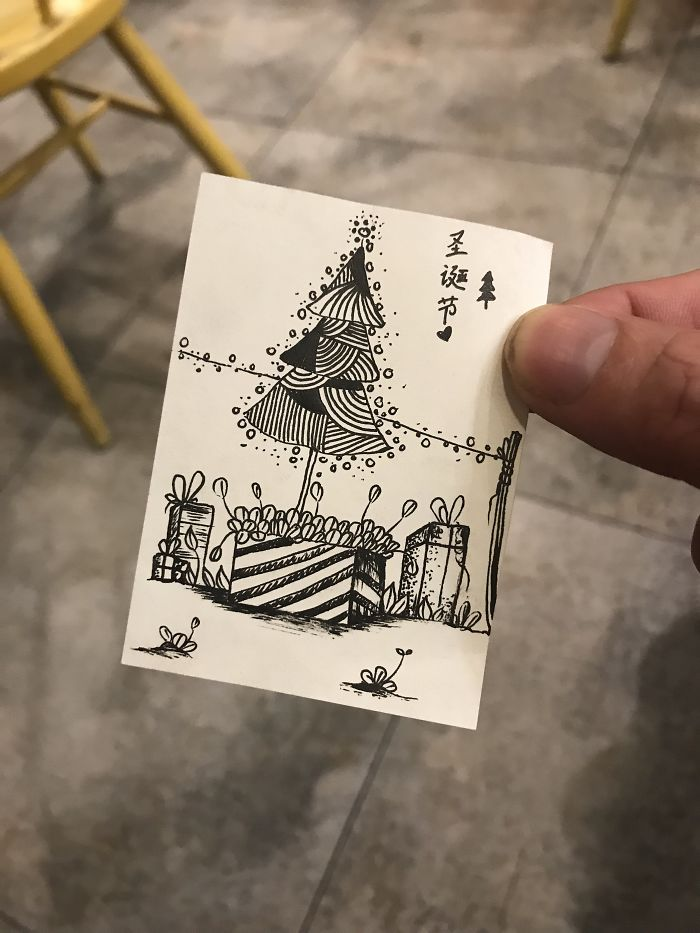 I Drew 24 Pictures Of Christmas Tree In Small Paper Notes In My Coffee Time. These Chrismas Trees Can Be Become True By Your Hands.