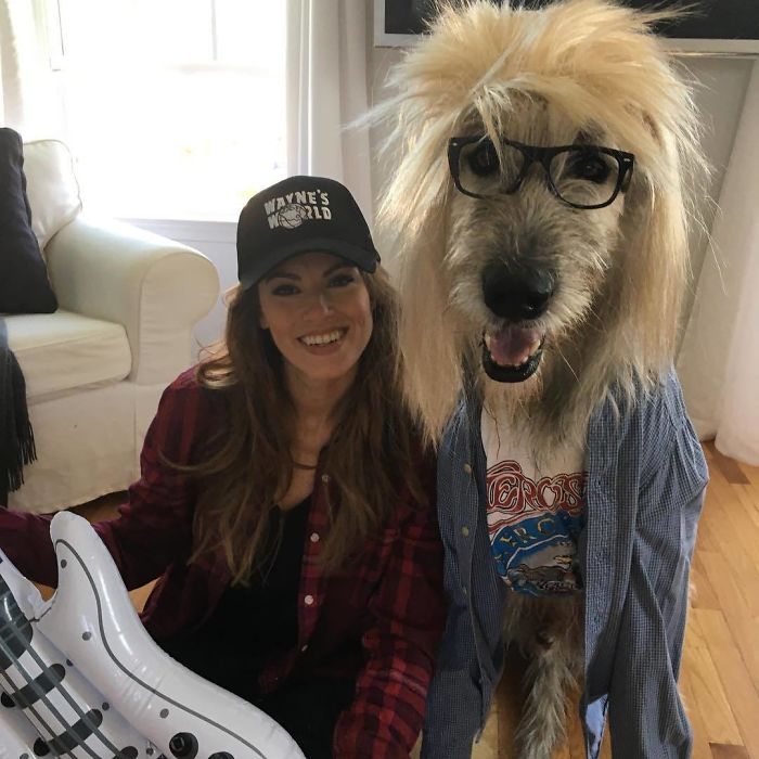 Owner And Her Dog Dressed Like Wayne's World Characters For Halloween