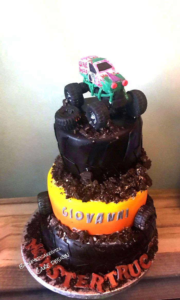 """I Made A Monstertruck Cake For A 7 Year Old Boy. Totally Edible, The Truck Is Made Of Fondant And The """"Dirt"""" Is Made Out Cookies."""