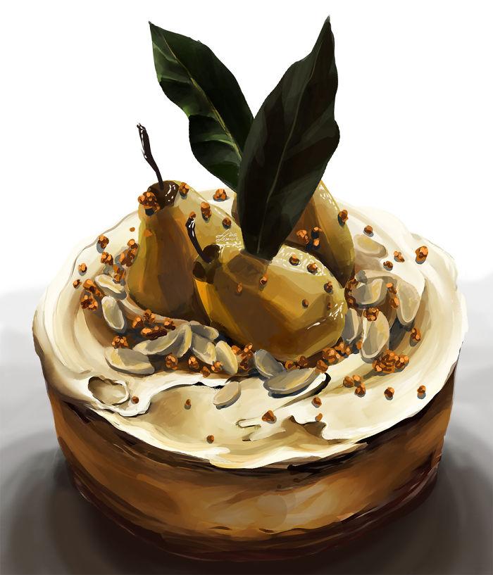 Amaretto Poached Pear Cake