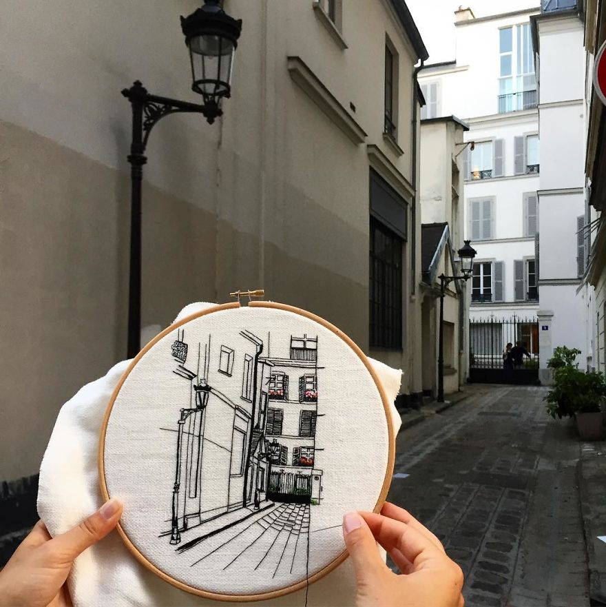 The European Architecture Immortalized In Embroidery By A Young Couple