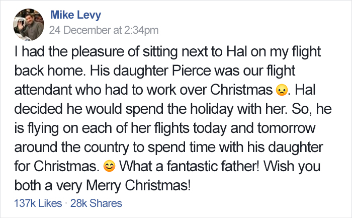 Christmas, <b> This dad spent Christmas on 6 flights with his flight attendant daughter </b>