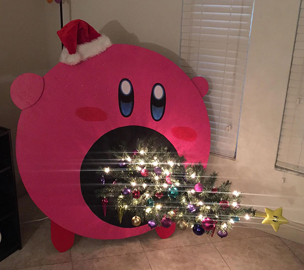 Kirby Sucking Up Our Christmas Tree