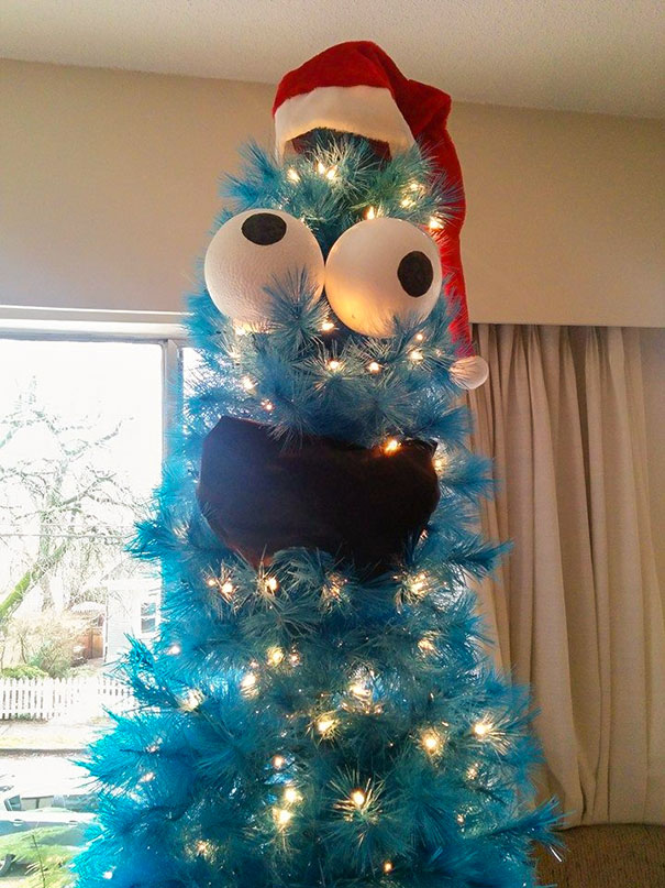 I Turned My New 7' Blue Christmas Tree Into Cookie Monster