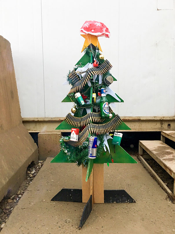 I'm Spending Christmas In Iraq This Year, We Didn't Have Much But I Still Think We Put Together One Hell Of A Tree