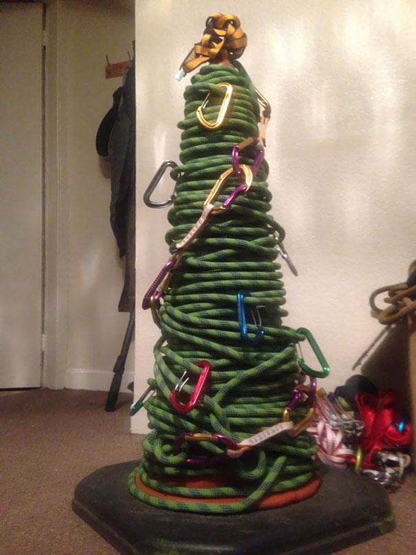 My Roommate Likes Climbing - This Is His Christmas Tree This Year