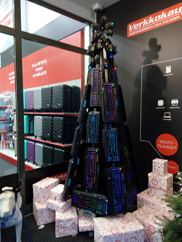 Christmas Tree At A Local Electronics Store Is Lit
