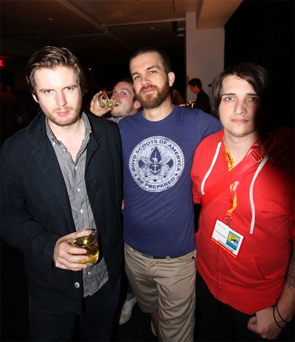 Olly Moss, Myself, Daniel Danger, With Special Guest Photobomber Elijah Wood