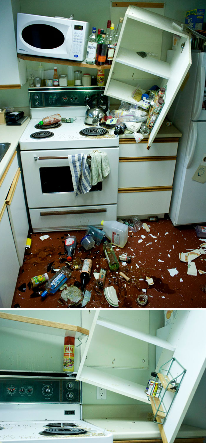 We Had Too Much On Our Shelf And In Our Cupboard, So It Broke. But It Could've Been Worse Without Pam