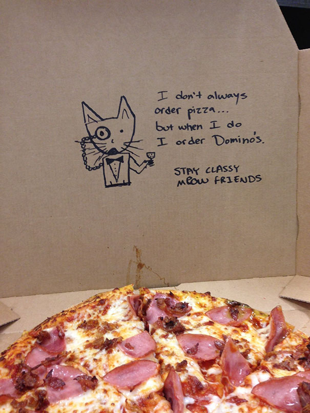 "I Deliver Pizza Part Time. Somebody Ordered Online With The Instructions ""Draw A Classy Cat"""