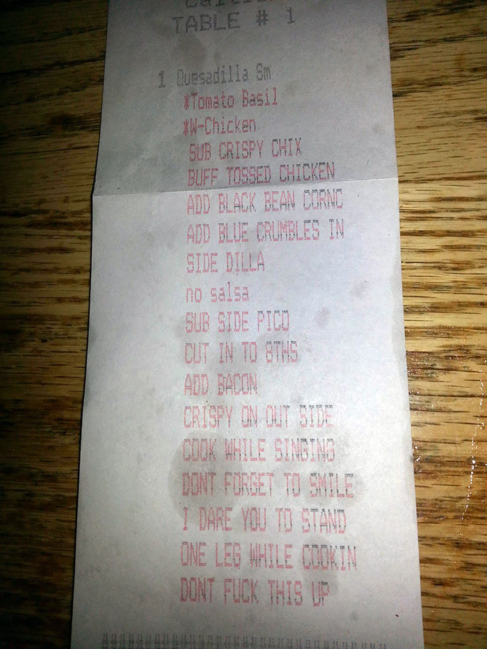 Receipt From My Favorite Waitress At My Favorite Bar Just Now