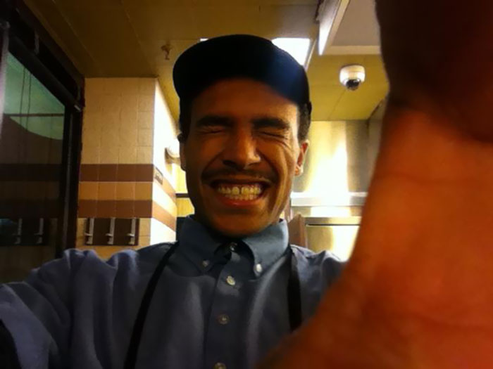 Last Night At Waffle House My Friends And I Asked Our Waiter To Take A Picture Of Us With My iPhone. He Made Us Do A Bunch Of Different Poses And Then Walked Away Laughing. Every Picture He Took Was Like This