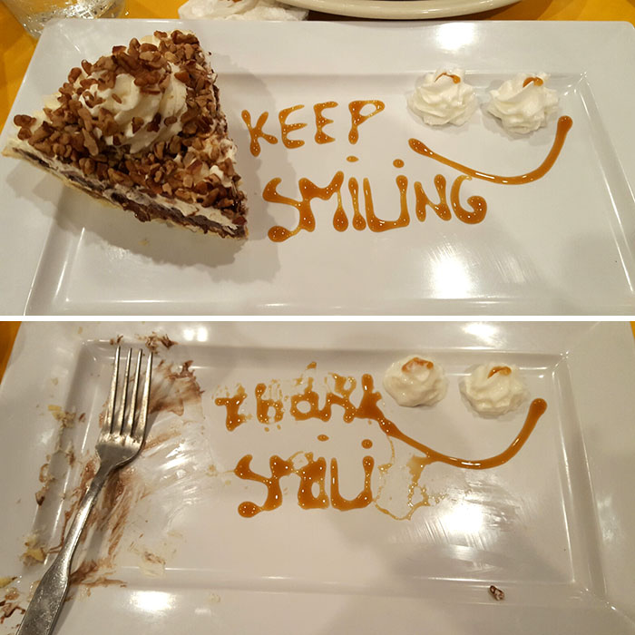 A Waiter Gave Me This When I Was Crying In Village Inn Restaurant. I Responded With The Bottom Image