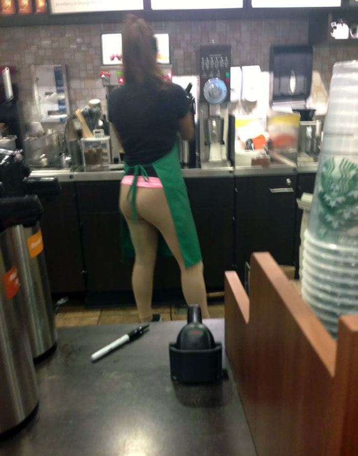 Really Thought The Barista At Starbucks Was Making My Drink With No Pants On